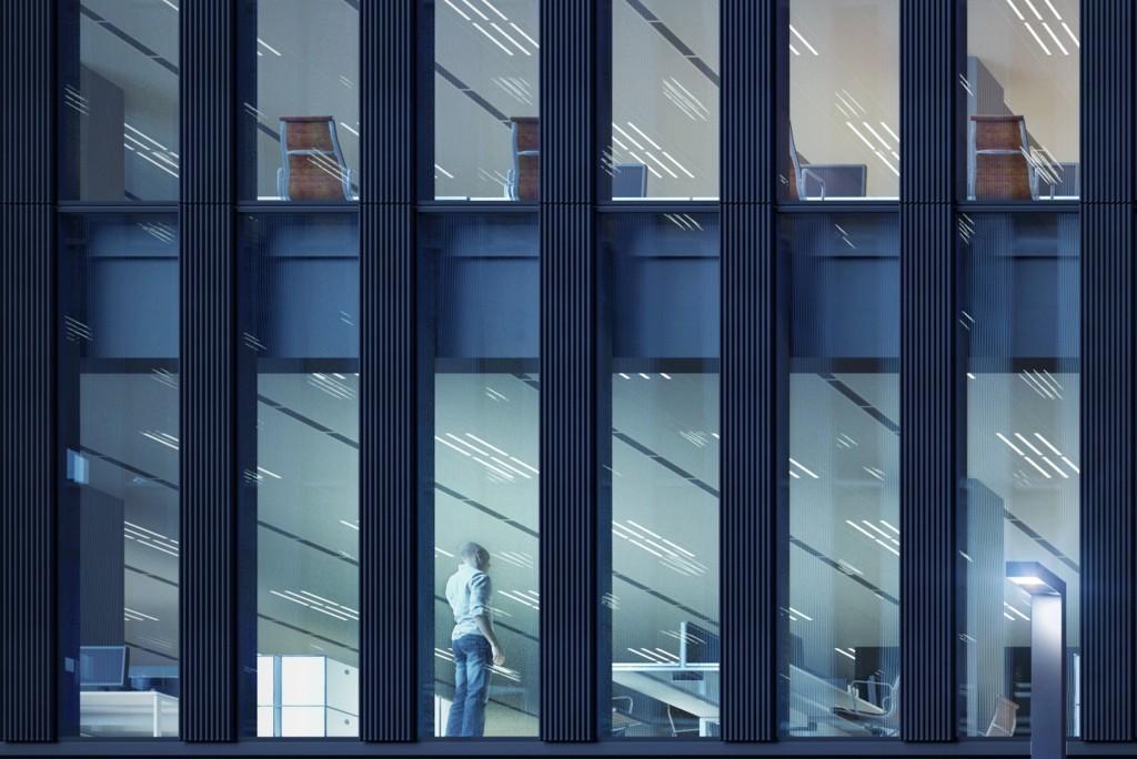 Przestrzeń między przeszkleniami elewacji będzie wykonana z prefabrykowanych elementów betonowych o pionowej rzeźbie