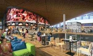 Wizualizacja strefy gastronomicznej, fot. Echo Investment