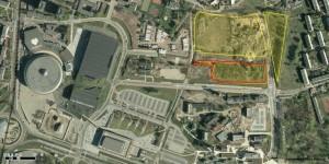 5-hektarowy teren TDJ Estate w Strefie Kultury, na czerwono działka przeznaczona pod I etap inwestycji mieszkaniowej, fot. UM Katowice