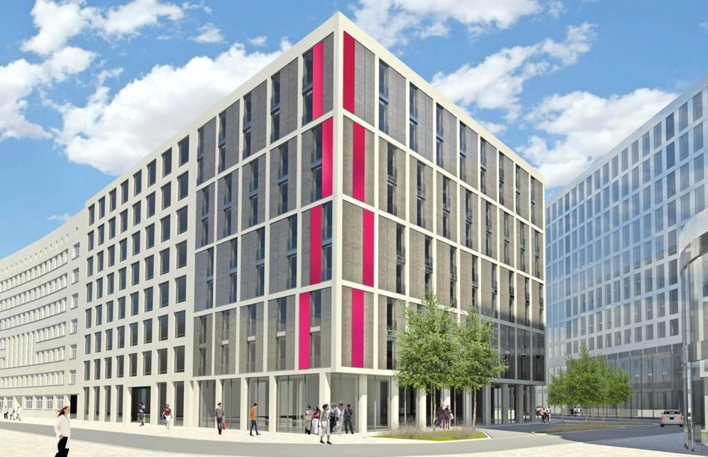 b8dd890b3f Wizualizacja budynku biurowo-hotelowego przy ul. Młyńskiej (część biurowa z  białą elewacją